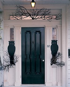 Black Owls and Branches Door Decor