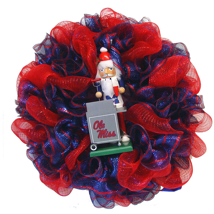 Ole Miss Wreath Tutorial Using Deco Poly Mesh and Glitter Twig Work Wreath