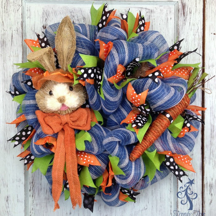 Orange Bunny Head Wreath Tutorial 2016