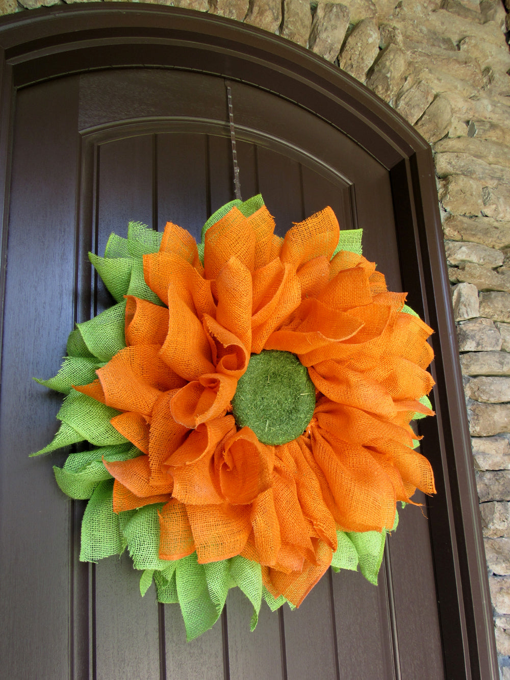 Orange Burlap Flower Wreath Tutorial