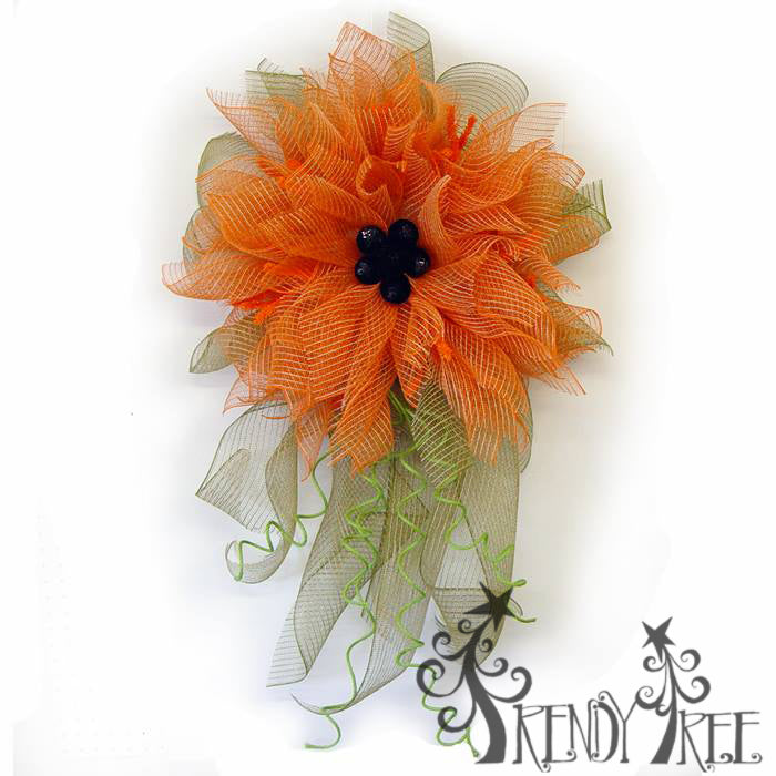 Orange Poly/Jute Mesh Flower Video Tutorial by Trendy Tree
