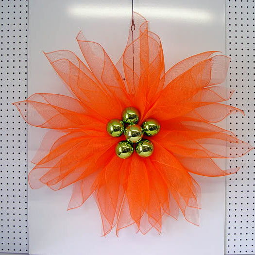"Deco Poly Mesh Flower Tutorial Using 21"" Deco Poly Mesh and Pencil Ties with Balls"