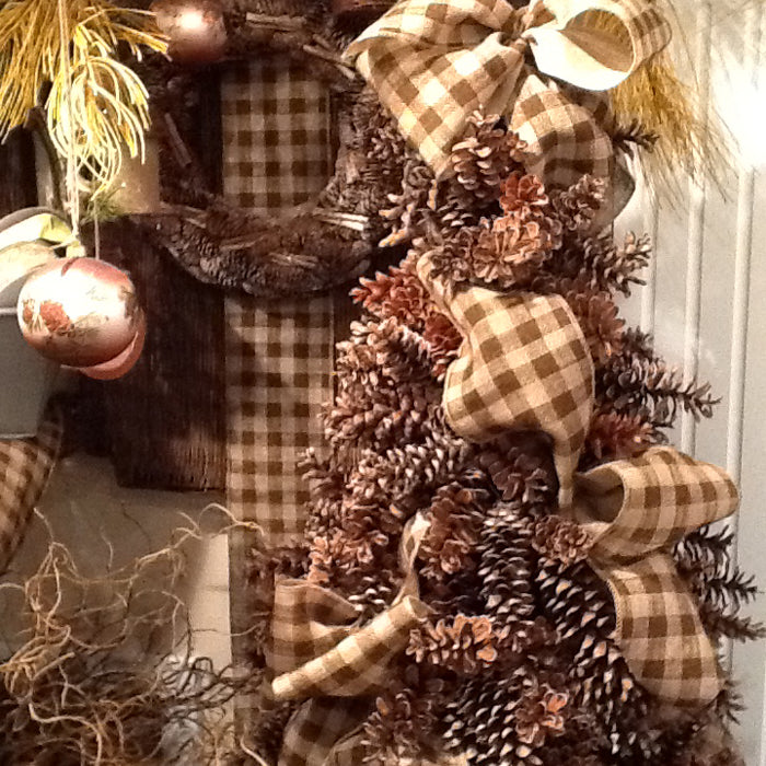 Pine Cone Tree with Burlap Check Ribbon