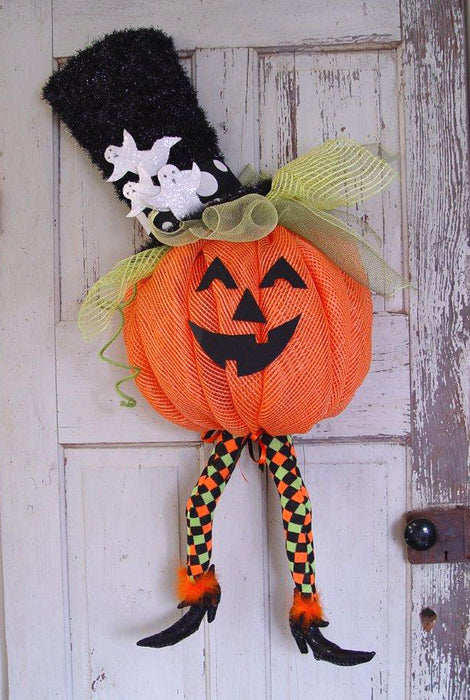 Deco Mesh Jack O'Lantern with Legs Tutorial