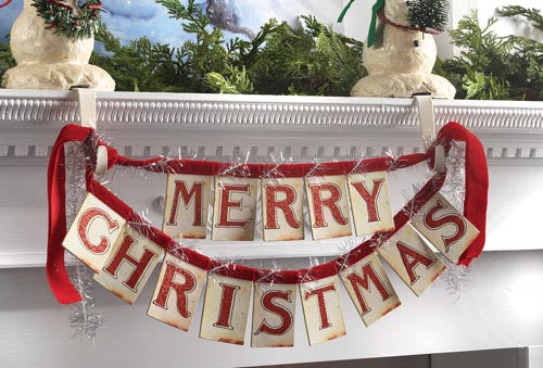 Hang Christmas Banners from Mantels