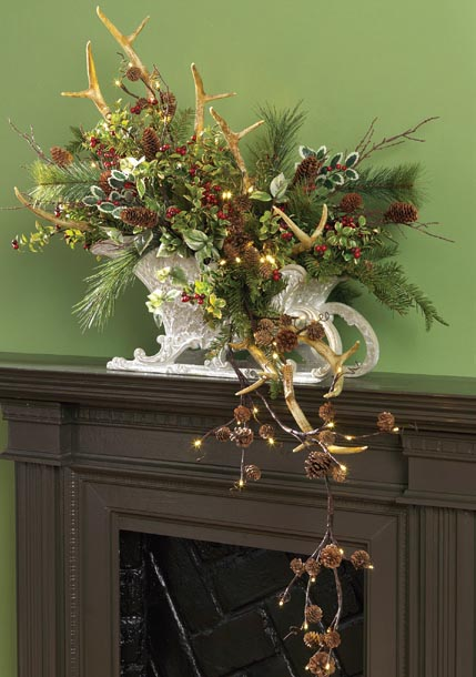 RAZ Lighted Pinecone Garland and Antler Spray Centerpiece