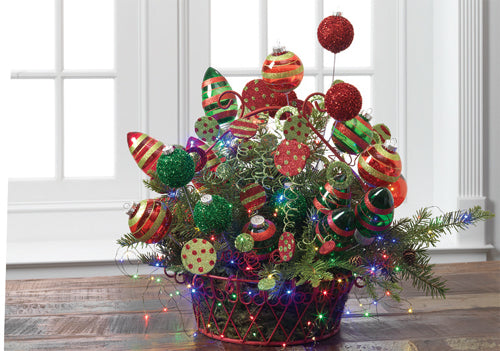Multicolored Basket Centerpiece from RAZ Using Tiny String Lights