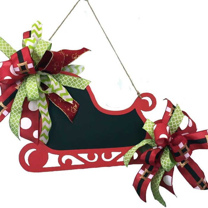 Decorate a RAZ Chalkboard Sleigh with Bow made from Scrap Ribbon