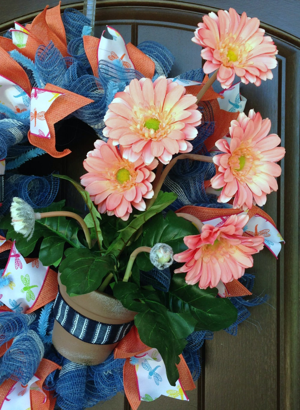Salmon Gerbera Daisy Wreath Tutorial