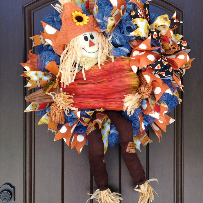 Scarecrow with Pumpkin Wreath Tutorial 2016