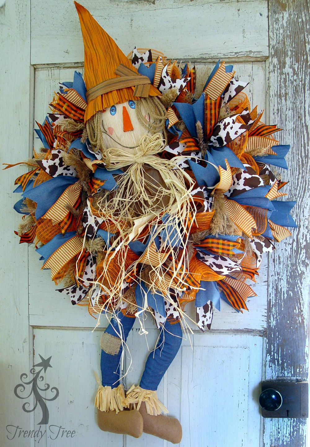 DIY Scarecrow Wreath with Legs