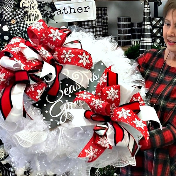 Season's Greetings Deco Mesh Wreath