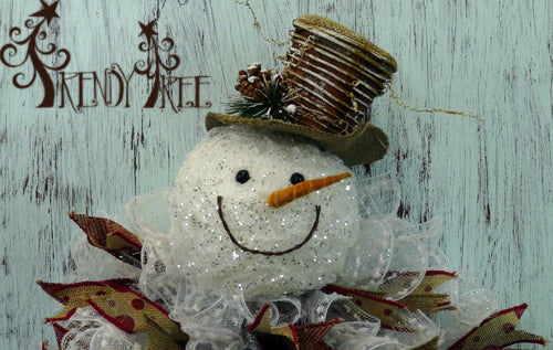 Snowman with Twig Hat Wreath Tutorial
