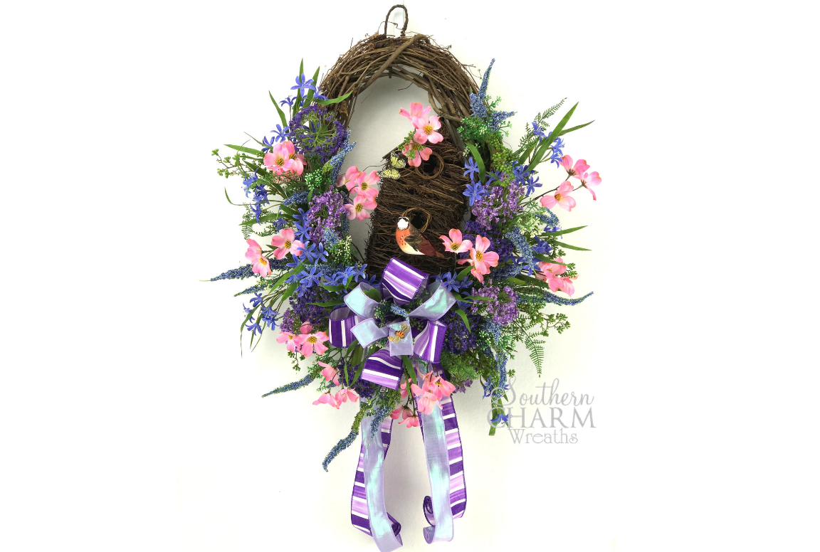 Silk Flower Spring Birdhouse Wreath - Want to Learn How to Make It?