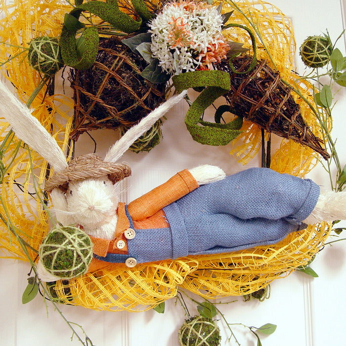 Here Comes Peter Cottontail! Twig Wreath with RAZ Easter Bunny