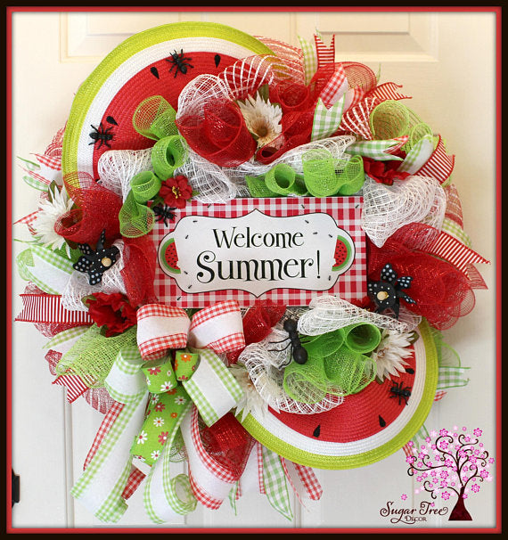 Watermelon Wreath by Sugar Tree Decor