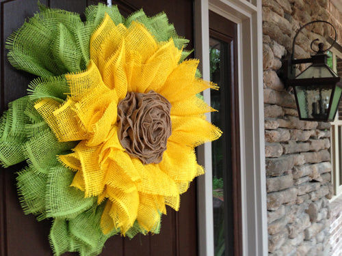 Sunflower Wreath with Ribbon Rose Center Tutorial