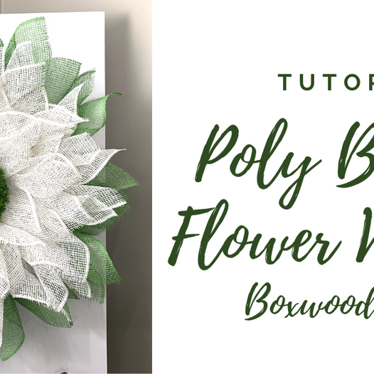Poly Burlap Flower Wreath with Boxwood Center Tutorial