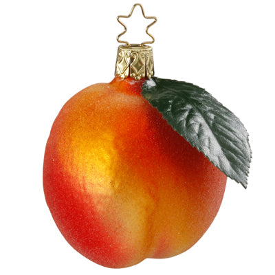 Fuzzy Peach Christmas Ornament Inge-Glas of Germany