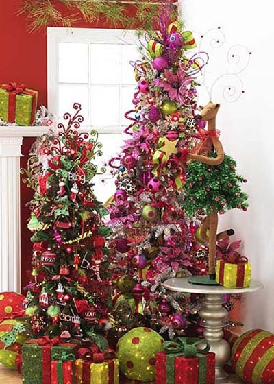 glitzy tree, bling tree, hot pink tree
