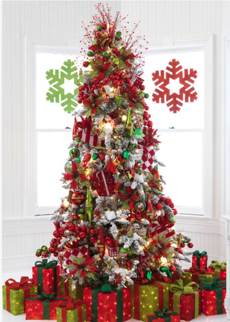 tinsel town tree, lighted packages