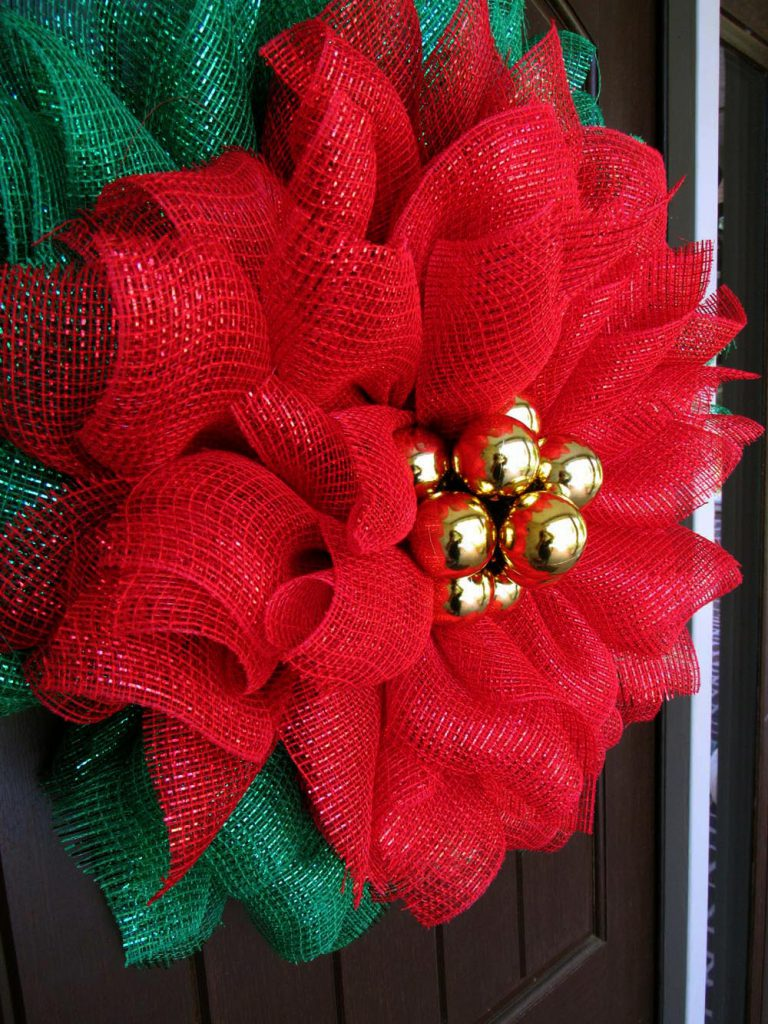 red fabric mesh, poinsettia wreath, poinsettia tutorial
