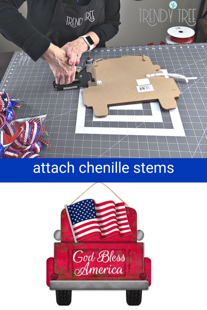 attach chenille stems, staple pipe cleaners