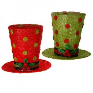 lighted polka dot hats in red and lime green from raz