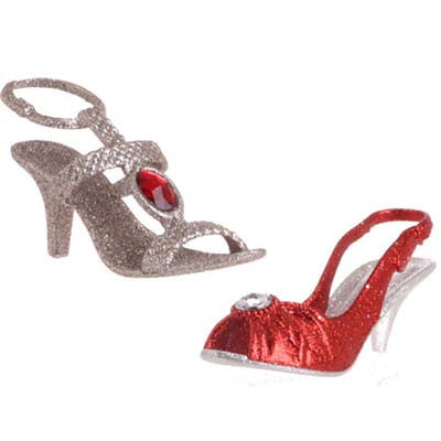red, silver plastic high heel shoe ornament