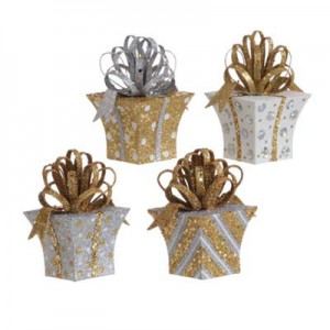 gold white silver package ornaments stripes and polka dots from raz