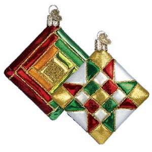 old world christmas quilt square christmas ornament