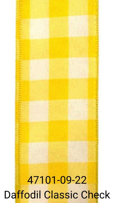 Daffodil Yellow and White Bold Classic Check Ribbon