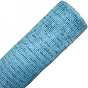 """Turquoise Blue decorative poly mesh netting ribbon 21"""" x 10 yd roll."""