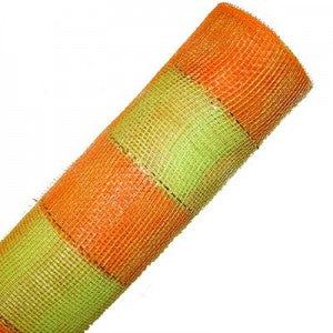 orange, lime green, decorative poly mesh ribbon roll