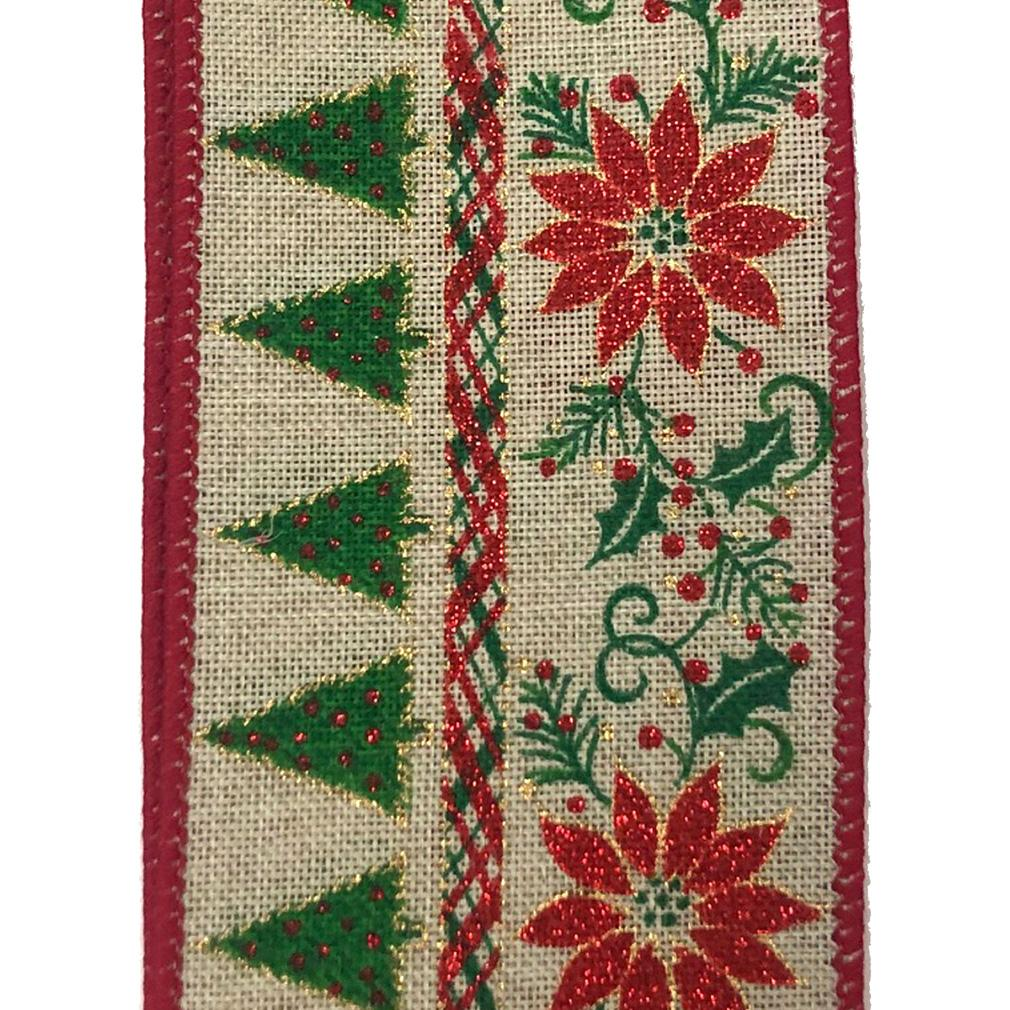 Light Natural Ribbon with Christmas Trees and Poinsettias
