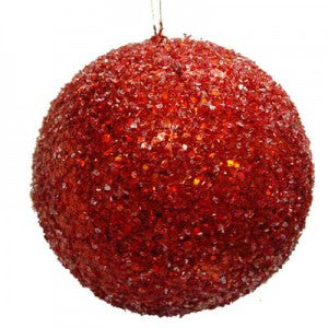 red ice mica glittered ball ornament
