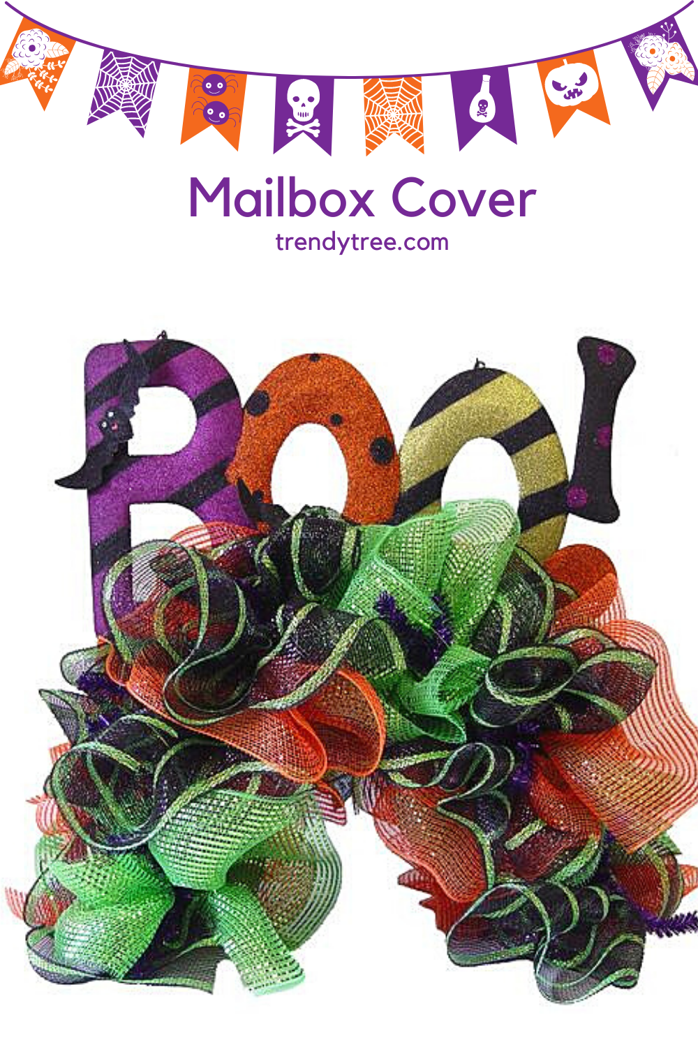 Halloween Mailbox Cover with Deco Mesh from Trendy Tree