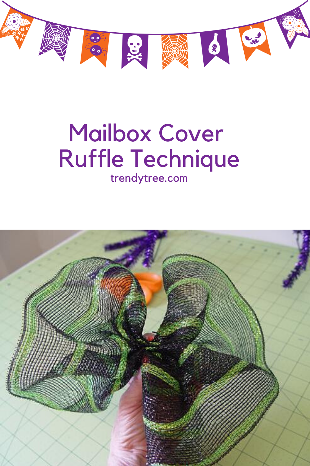 Make a mailbox cover using deco mesh and a straight pencil rail from Trendy Tree