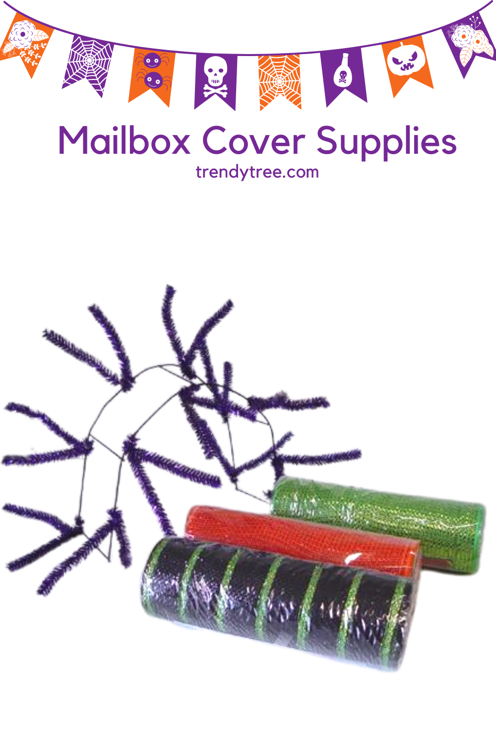 Mailbox cover tutorial using a straight pencil rail and Deco mesh from Trendy Tree