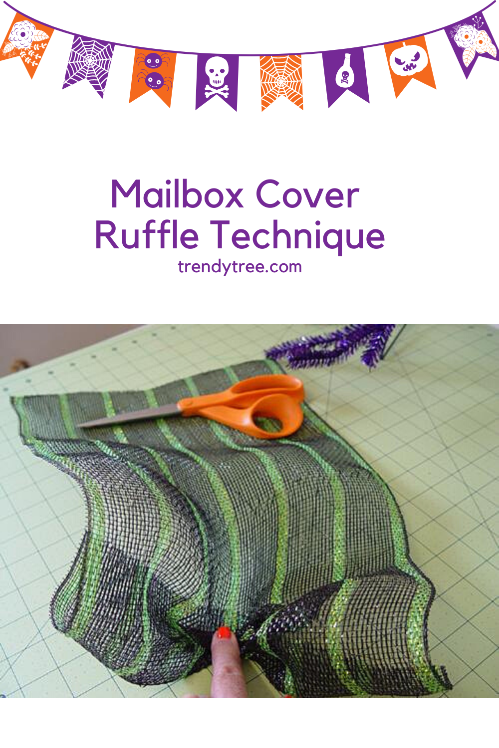 Ruffle technique for a mailbox cover using Deco Mesh from Trendy Tree