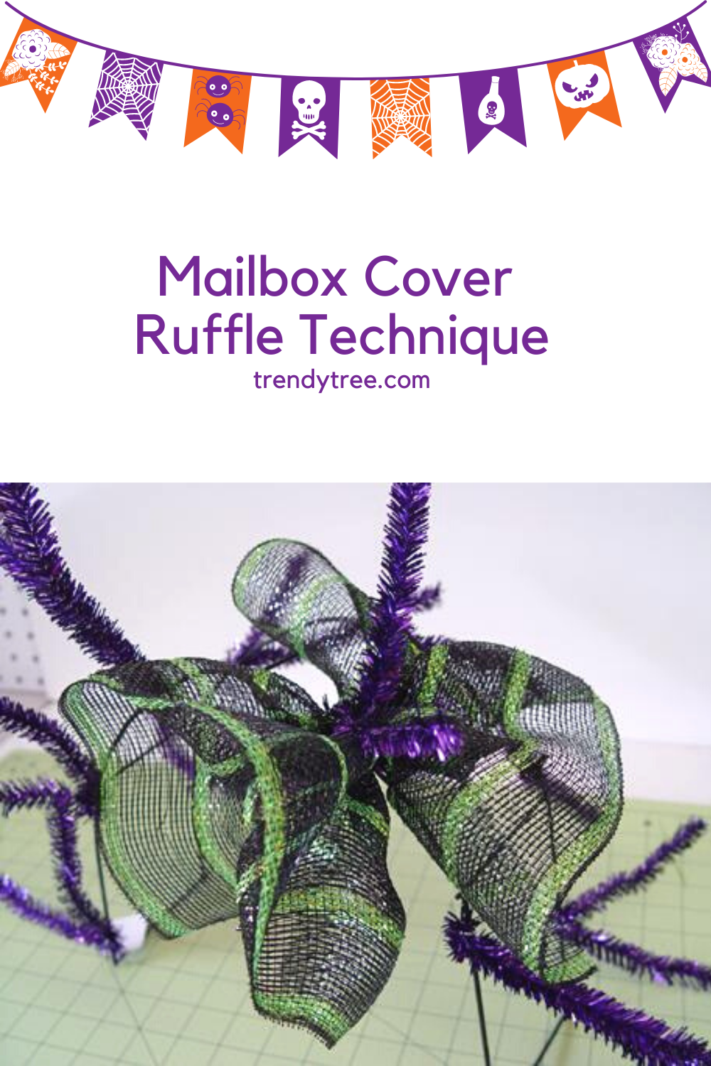 Mailbox cover made with Deco mesh from Trendy Tree
