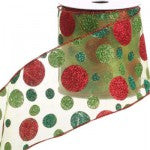 raz glittery green ribbon with green and red polka dots, wire edge