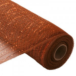 brown with copper metallic foil deco poly mesh netting