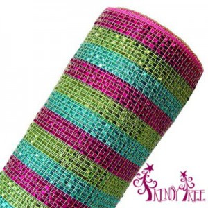 RE1364JM-wide-foil-stripe-hot-pink-turquoise-lime-10-inch