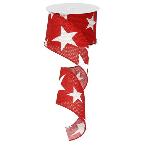 """2.5"""" Red with Large White Stars Ribbon at Trendy Tree"""