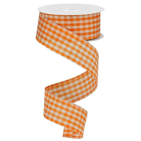 Orange White Gingham Check Ribbon
