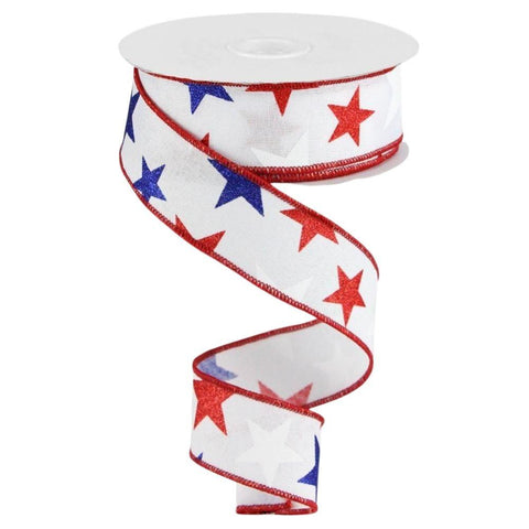 """1.5"""" White with Red and Blue Stars Patriotic Ribbon at Trendy Tree"""