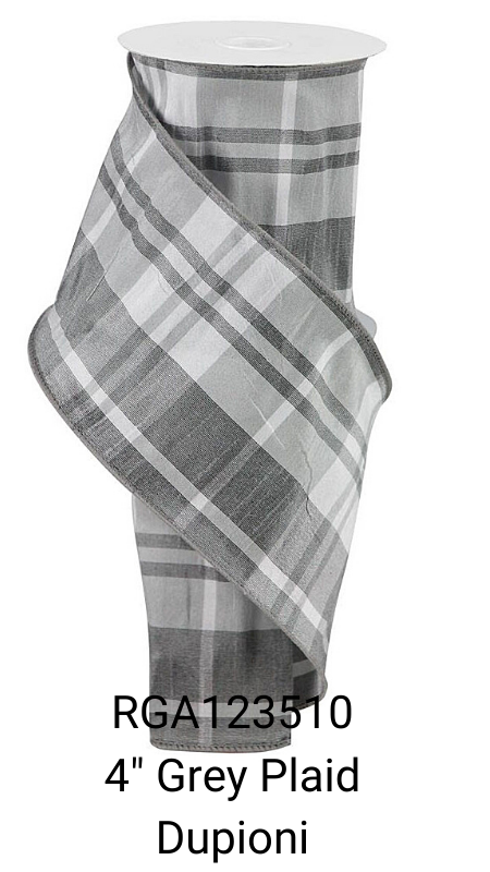 "4"" Grey White Dupioni Plaid Ribbon"