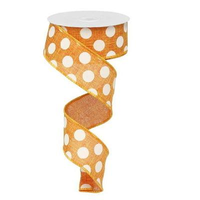 orange white polka dot ribbon