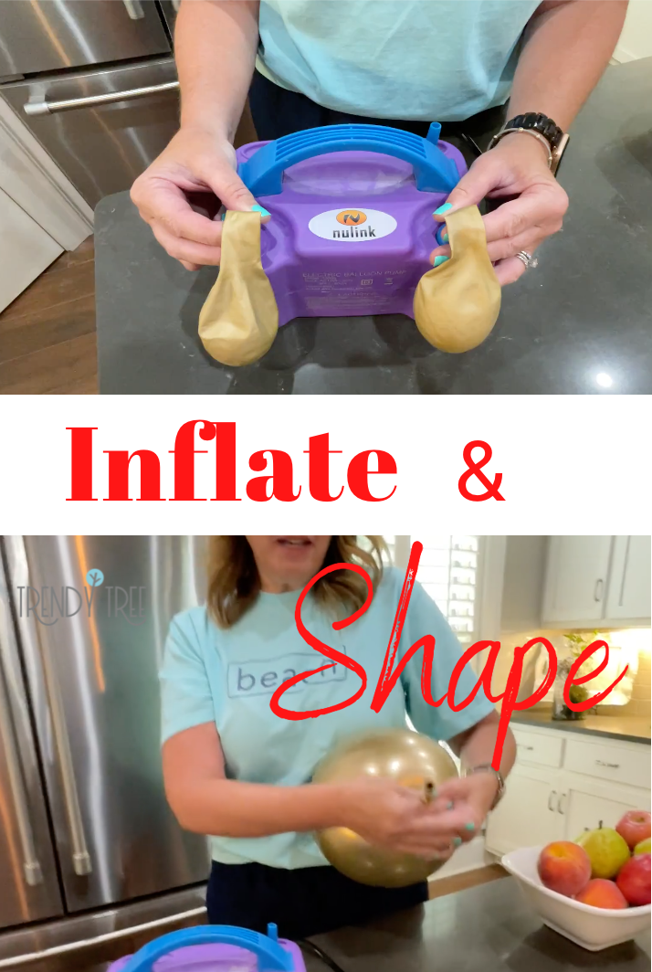 Inflate balloon and shape into round shape.